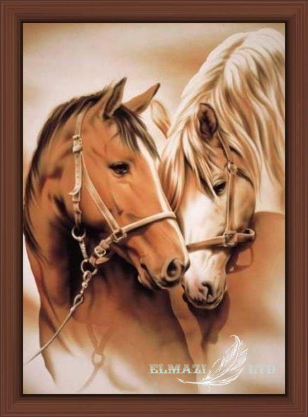 нежна магия, диамантен гоблен,коне