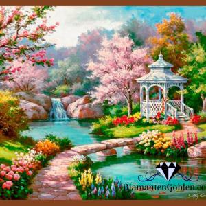 пейзаж,беседка,мост,река